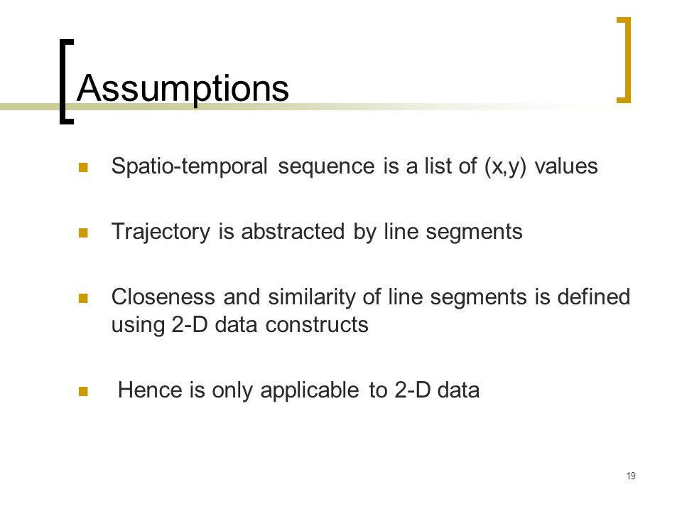 Assumptions Spatio-temporal sequence is a list of (x,y) values