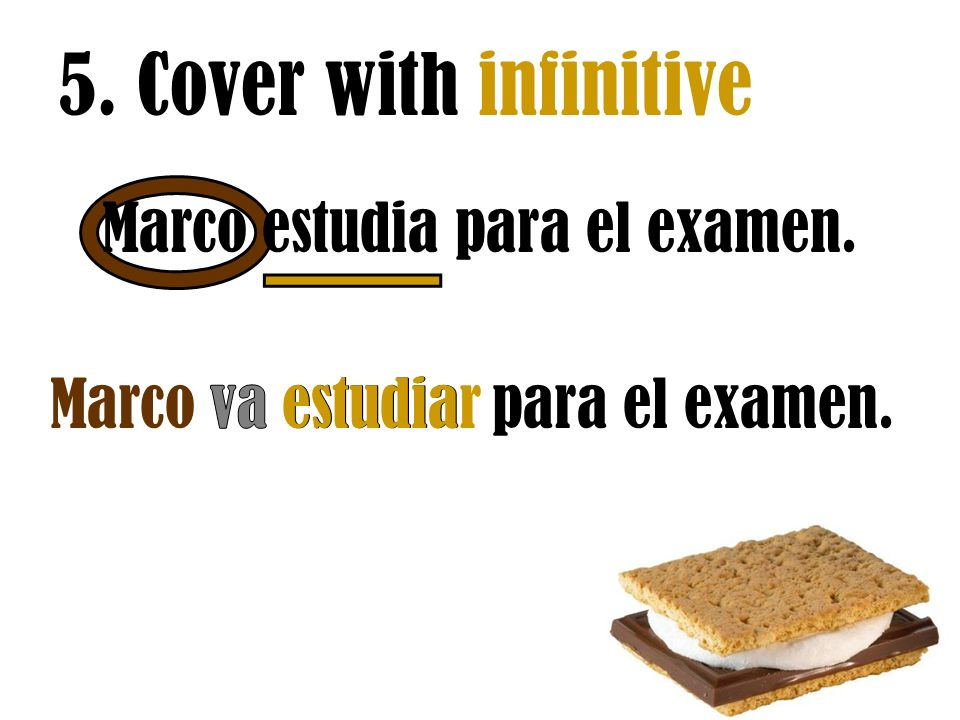 5. Cover with infinitive Marco estudia para el examen.