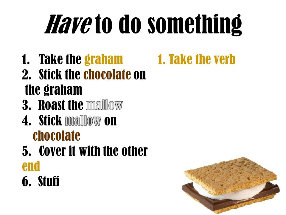 Have to do something Take the graham Stick the chocolate on the graham