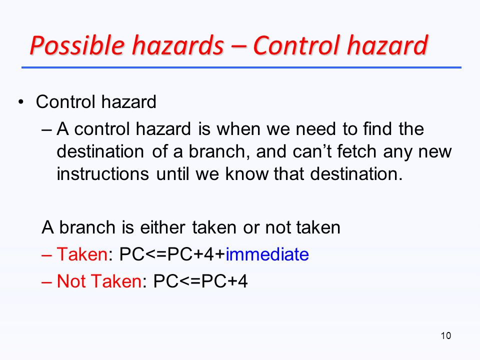 Possible hazards – Control hazard