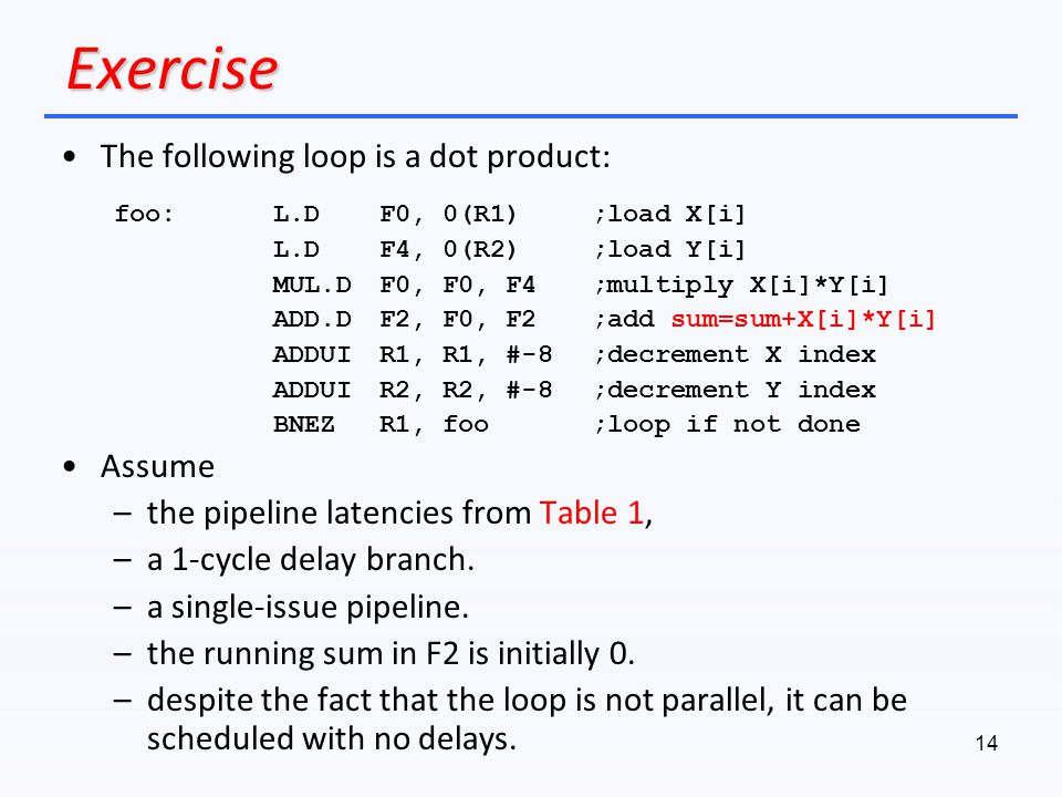 Exercise The following loop is a dot product: Assume
