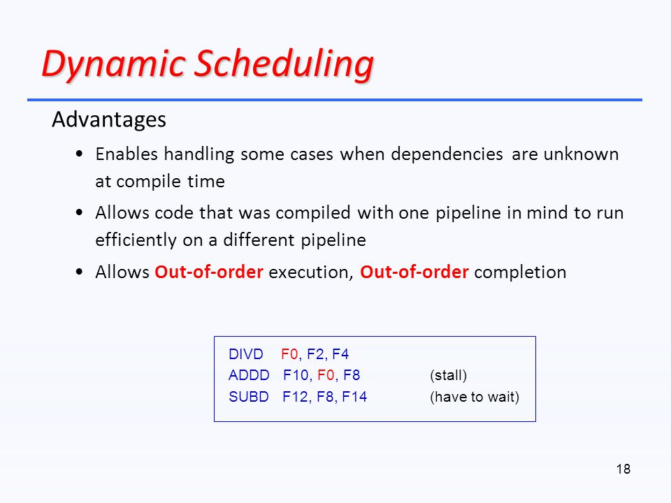 Dynamic Scheduling Advantages
