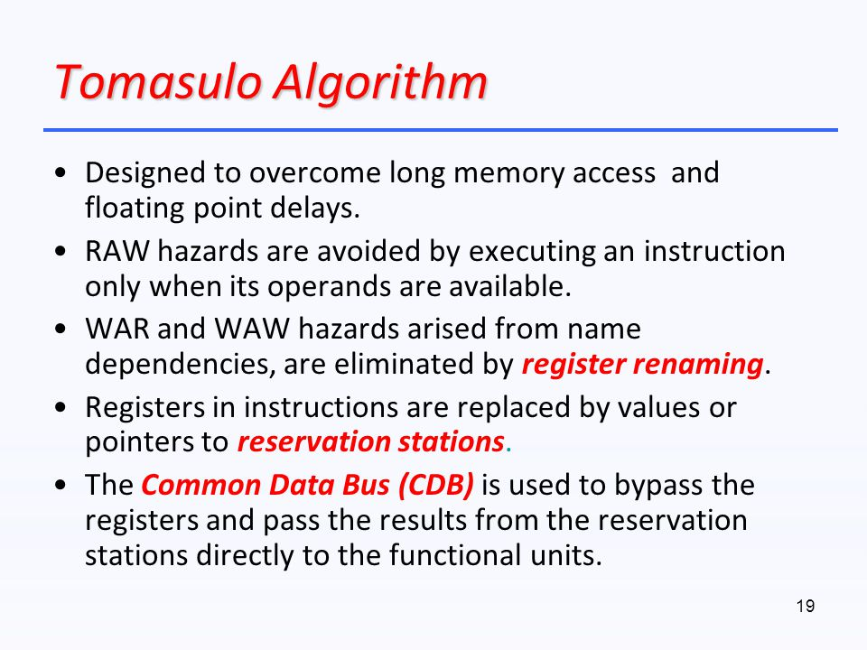 Tomasulo Algorithm Designed to overcome long memory access and floating point delays.