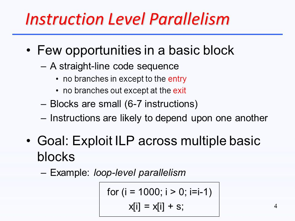Instruction Level Parallelism