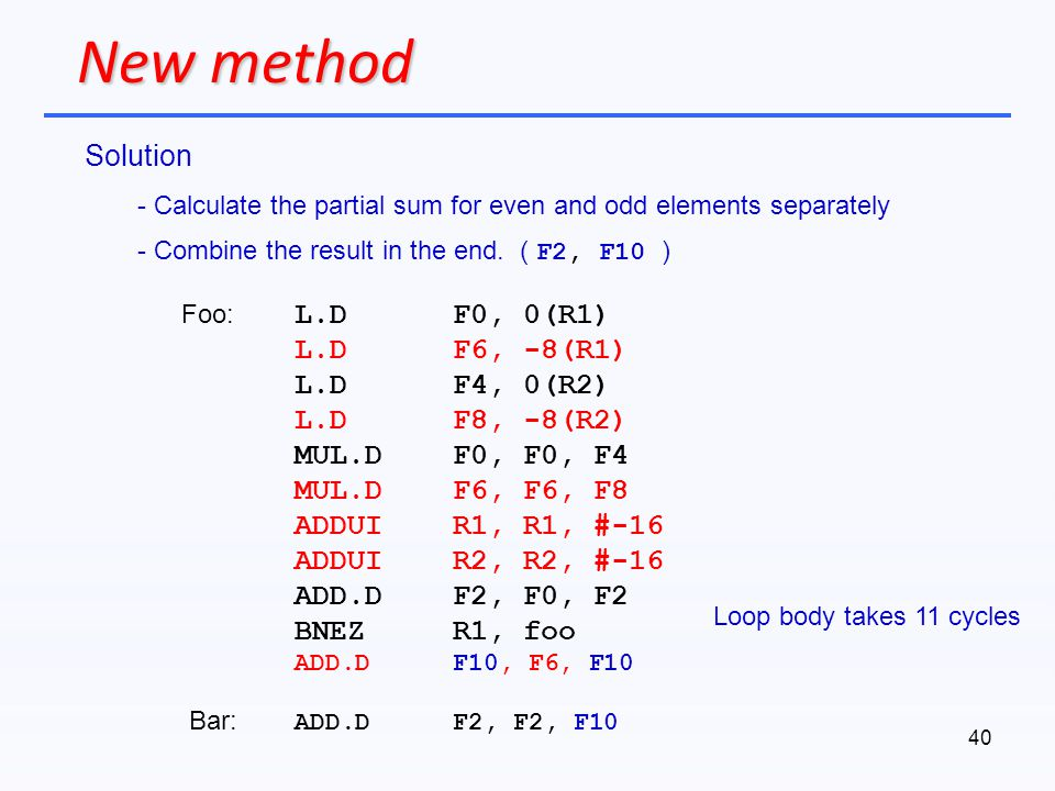 New method Solution L.D F0, 0(R1) L.D F6, -8(R1) L.D F4, 0(R2)