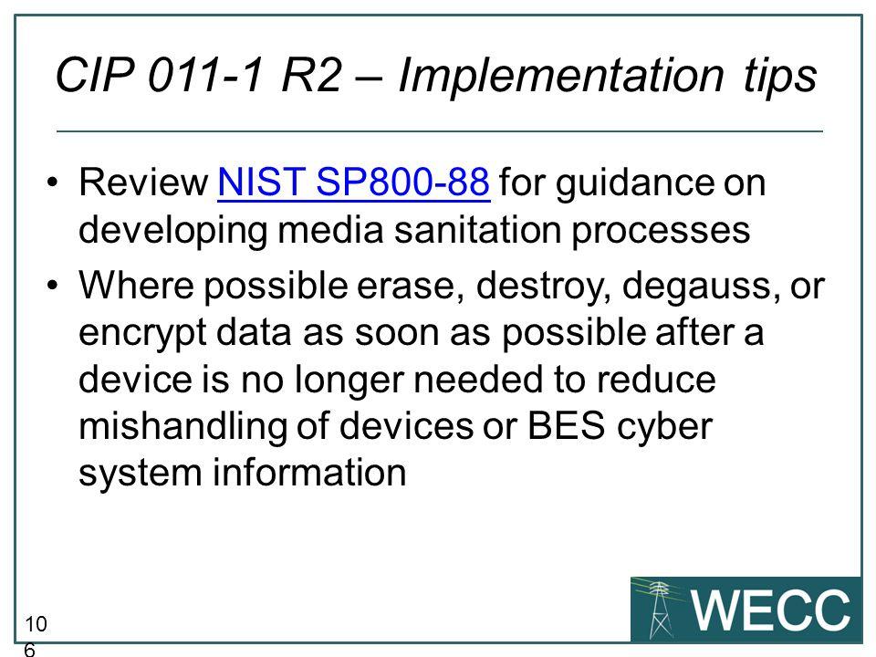 CIP 011-1 R2 – Implementation tips