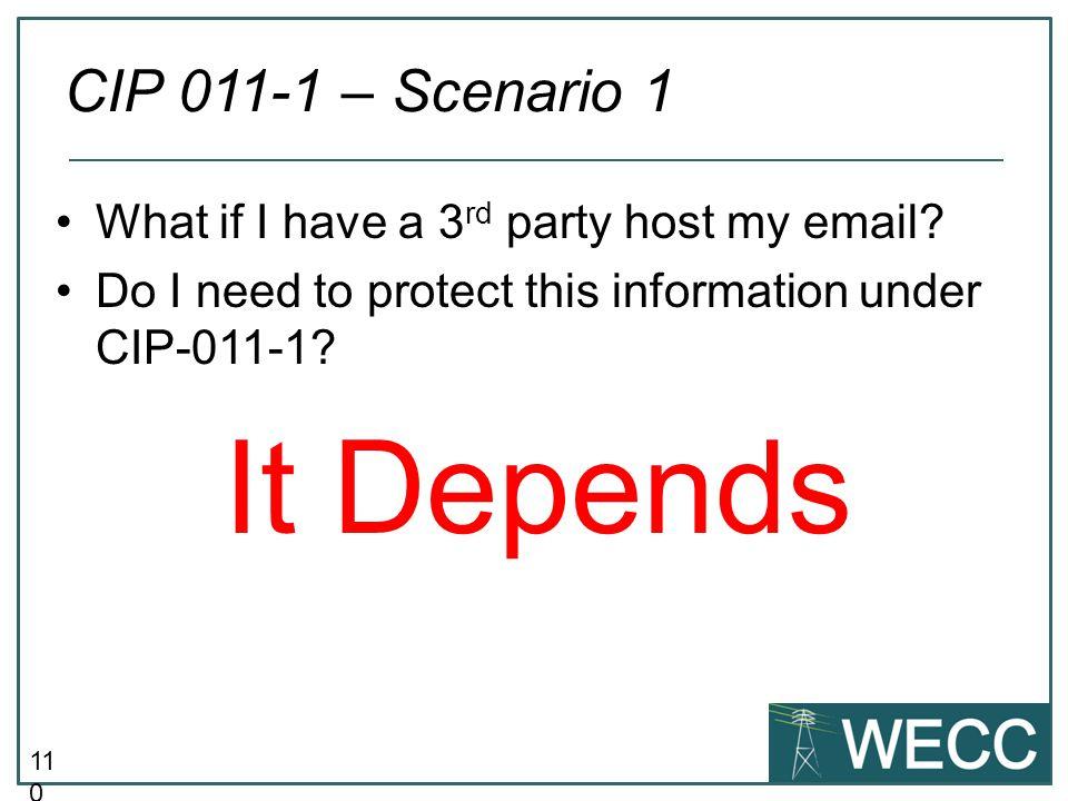It Depends CIP 011-1 – Scenario 1