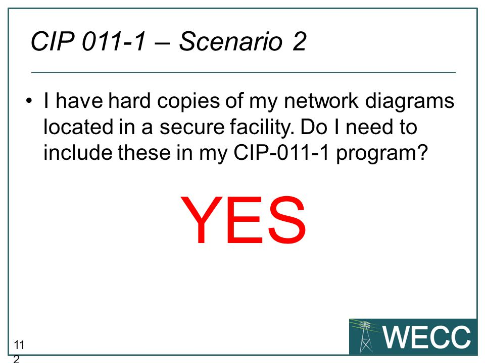 CIP 011-1 – Scenario 2 I have hard copies of my network diagrams located in a secure facility. Do I need to include these in my CIP-011-1 program