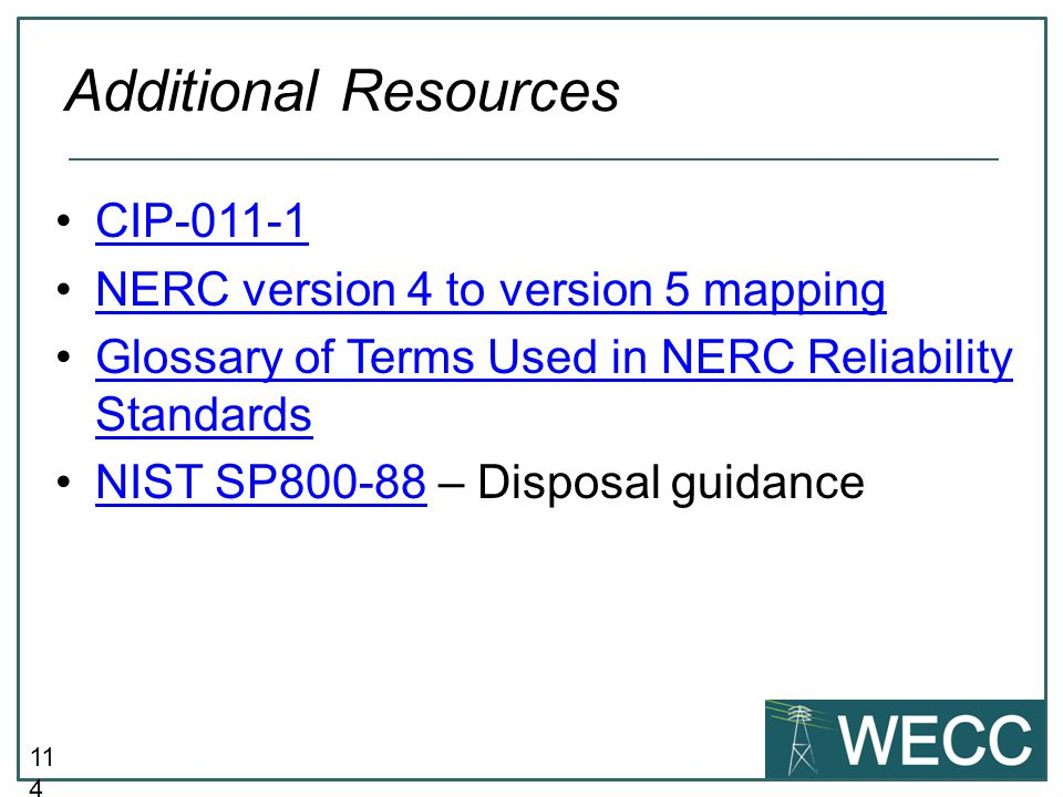 Additional Resources CIP-011-1 NERC version 4 to version 5 mapping