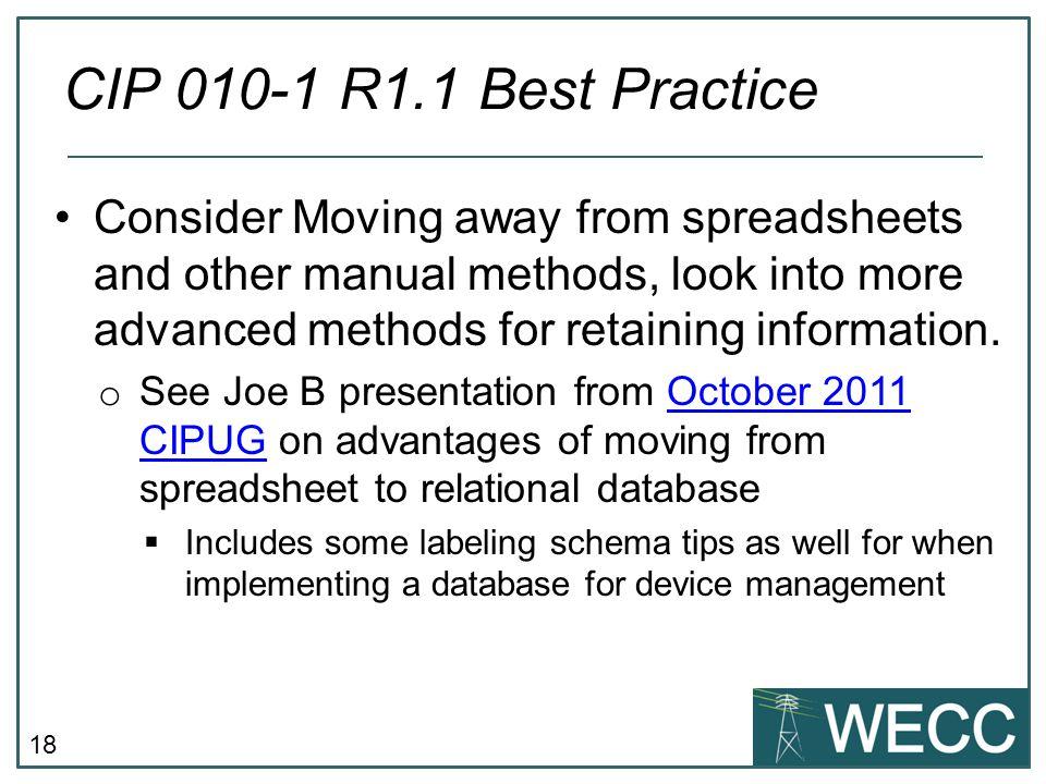 CIP 010-1 R1.1 Best Practice