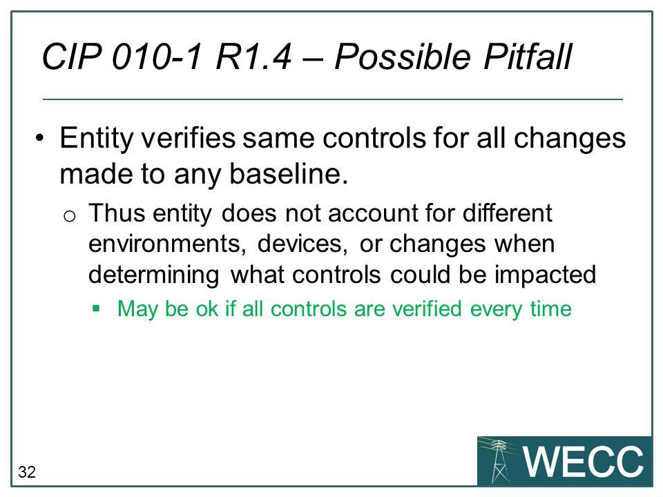 CIP 010-1 R1.4 – Possible Pitfall