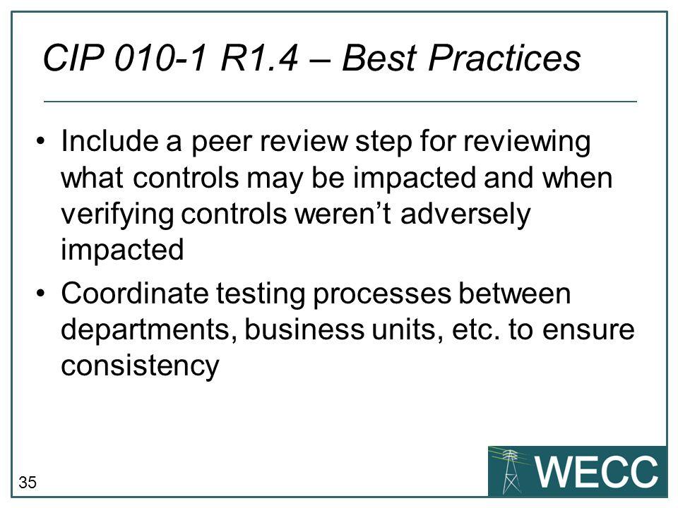 CIP 010-1 R1.4 – Best Practices