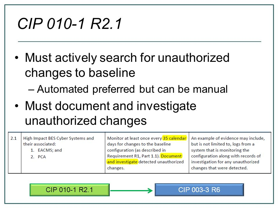 CIP 010-1 R2.1 Must actively search for unauthorized changes to baseline. Automated preferred but can be manual.