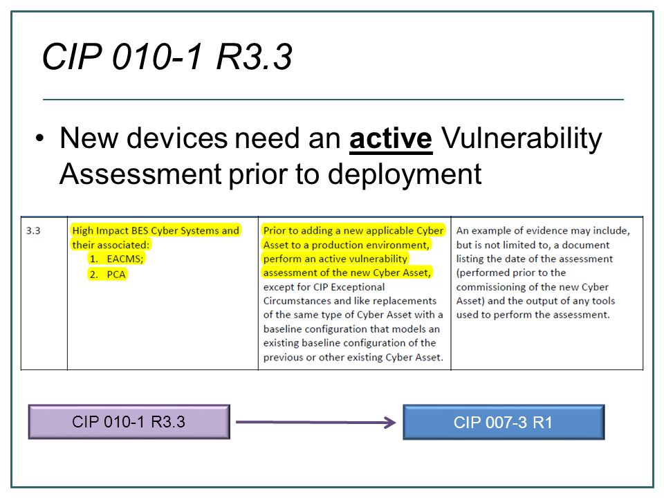 CIP 010-1 R3.3 New devices need an active Vulnerability Assessment prior to deployment. CIP 010-1 R3.3.