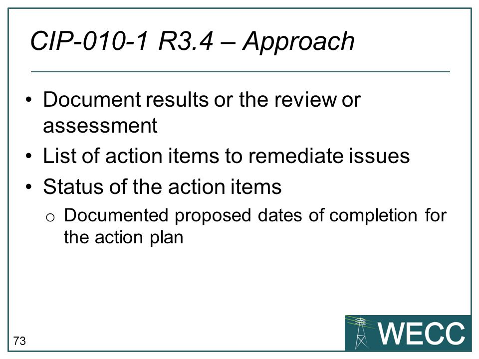CIP-010-1 R3.4 – Approach Document results or the review or assessment