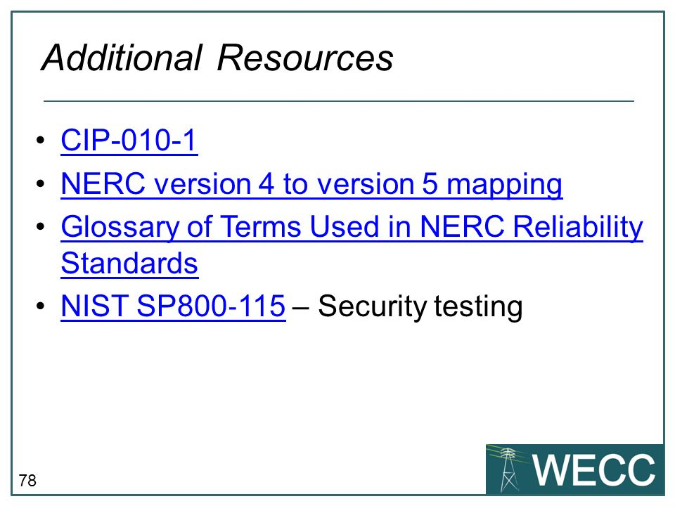 Additional Resources CIP-010-1 NERC version 4 to version 5 mapping