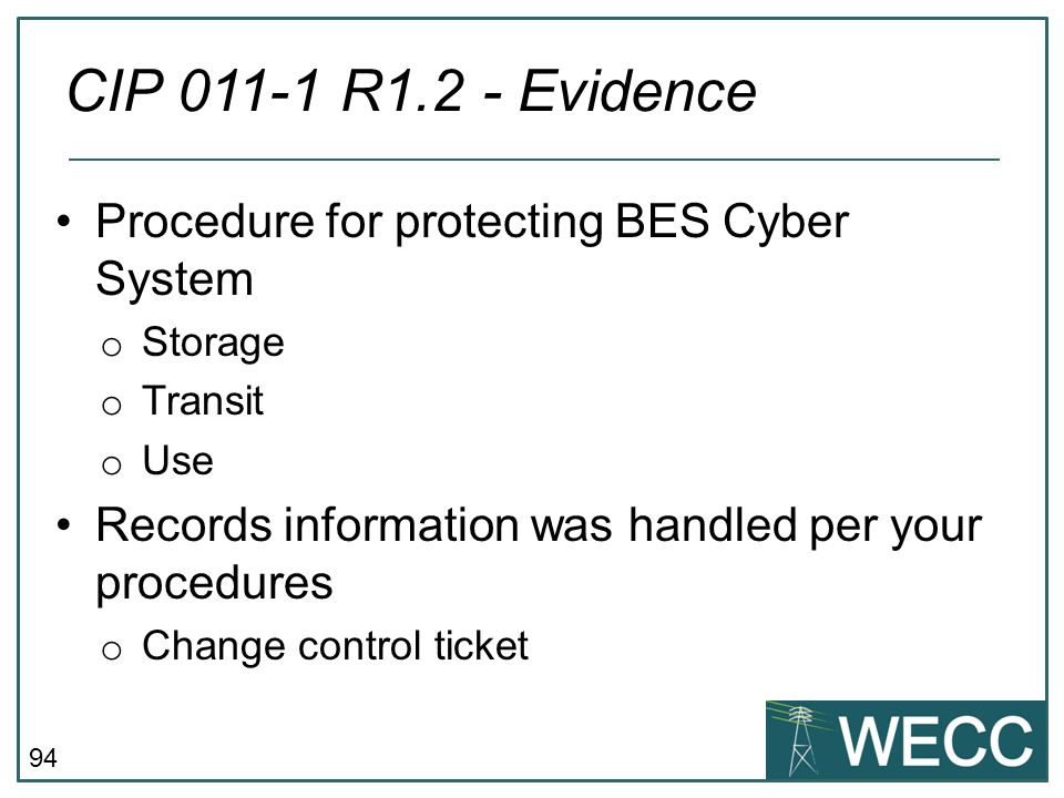 CIP 011-1 R1.2 - Evidence Procedure for protecting BES Cyber System
