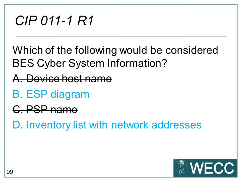 CIP 011-1 R1 Which of the following would be considered BES Cyber System Information Device host name.