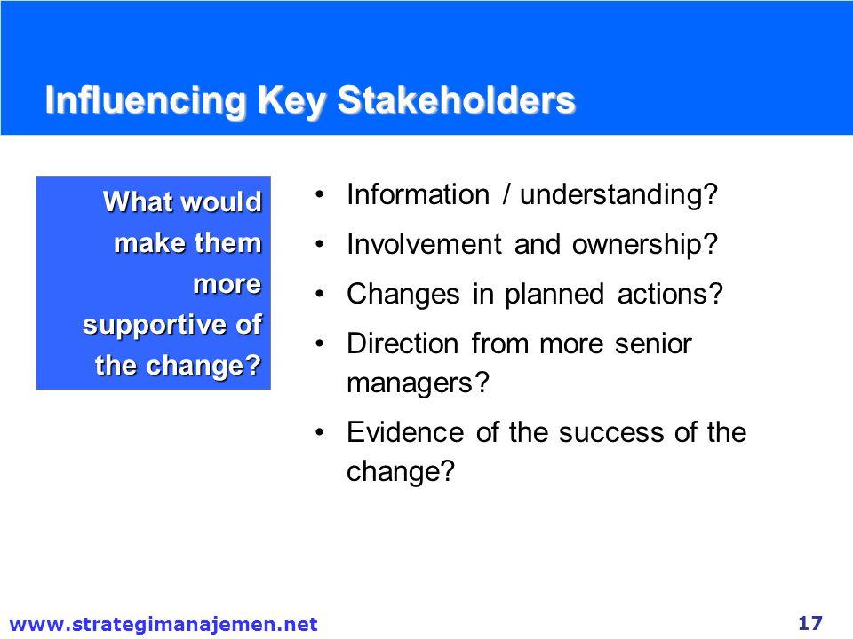 Influencing Key Stakeholders