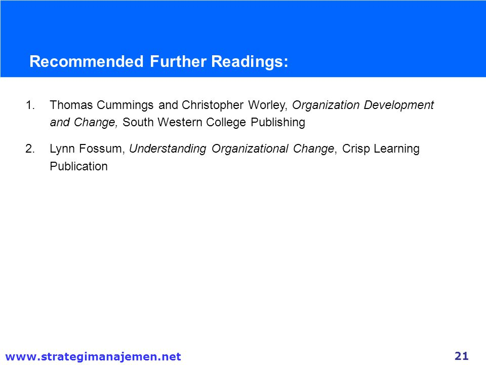 Recommended Further Readings: