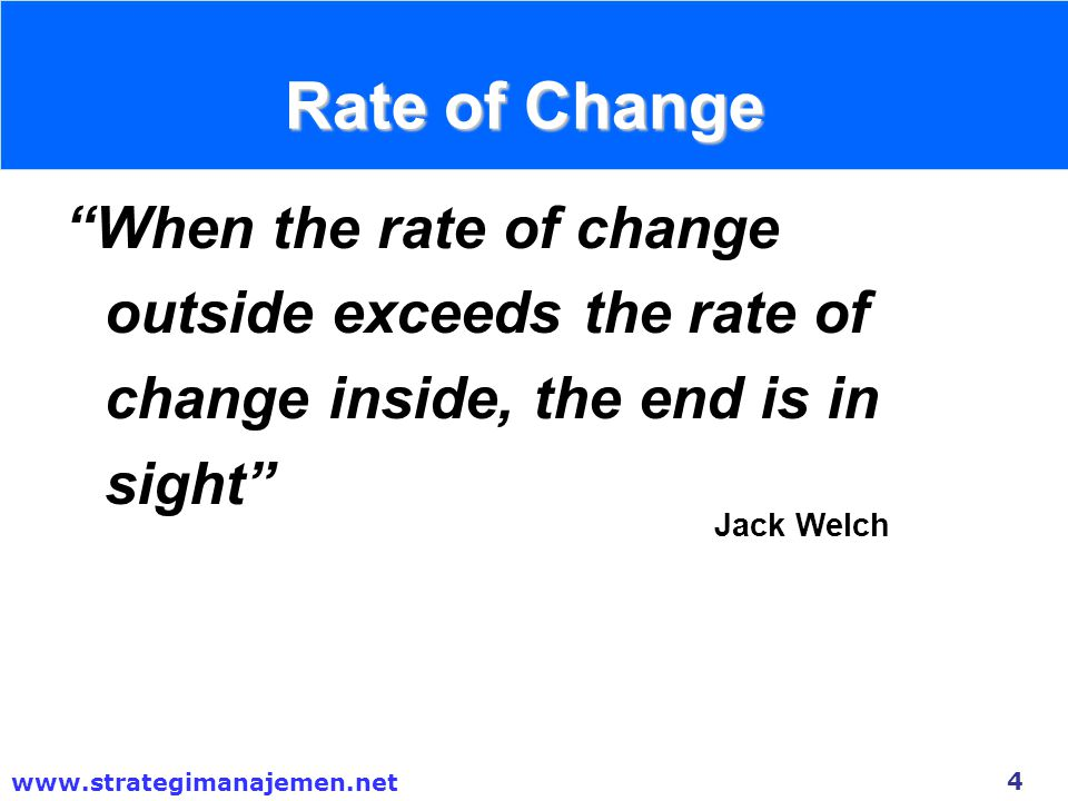 Rate of Change When the rate of change outside exceeds the rate of change inside, the end is in sight