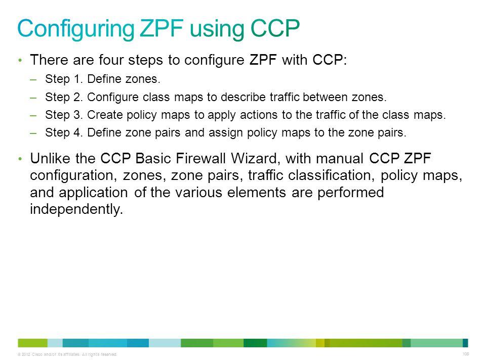 Configuring ZPF using CCP
