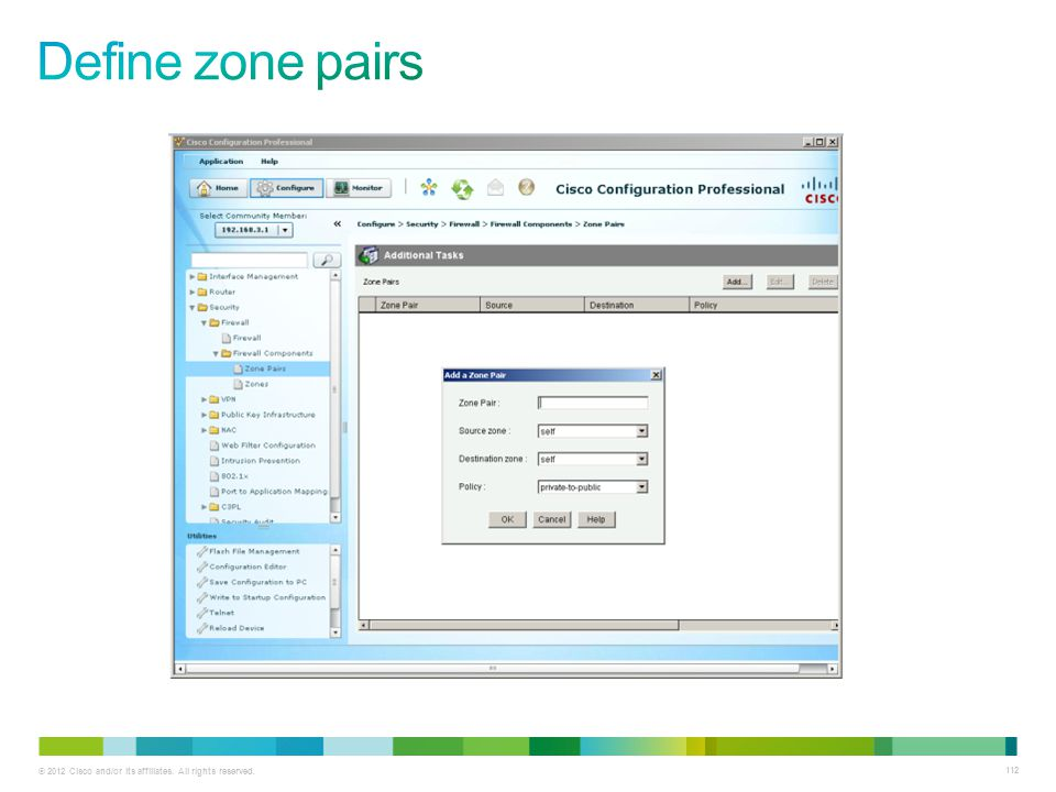 Define zone pairs