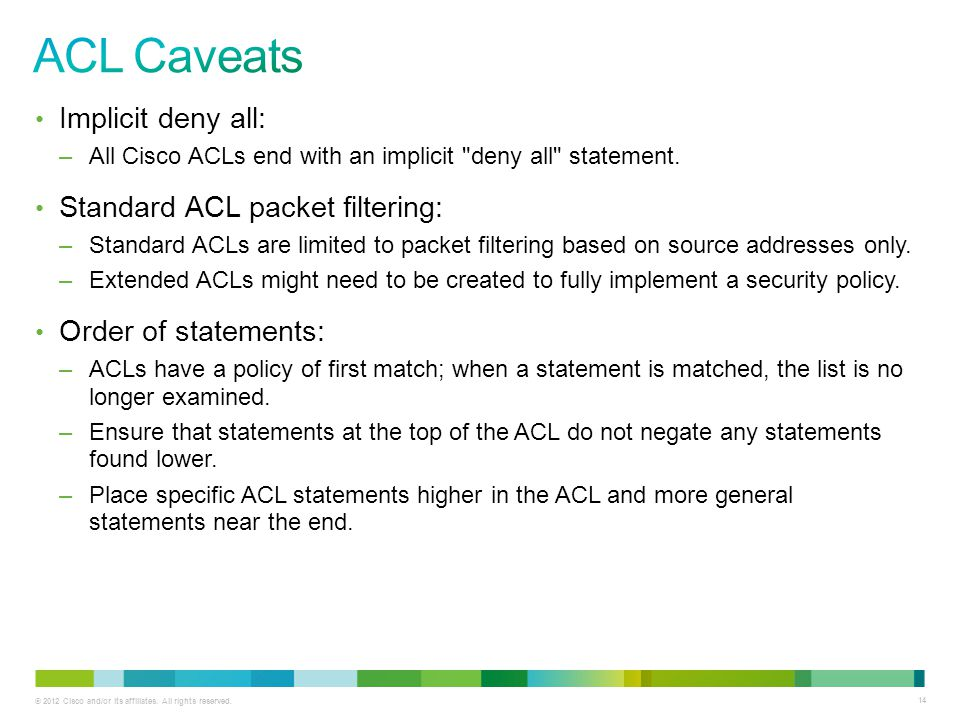 ACL Caveats Implicit deny all: Standard ACL packet filtering: