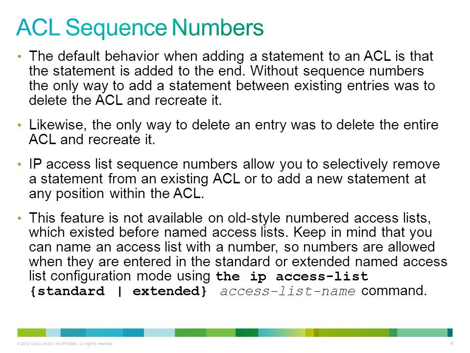ACL Sequence Numbers