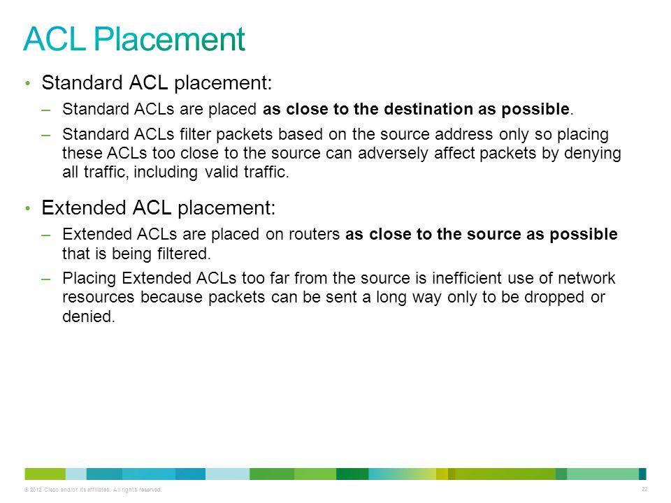 ACL Placement Standard ACL placement: Extended ACL placement: