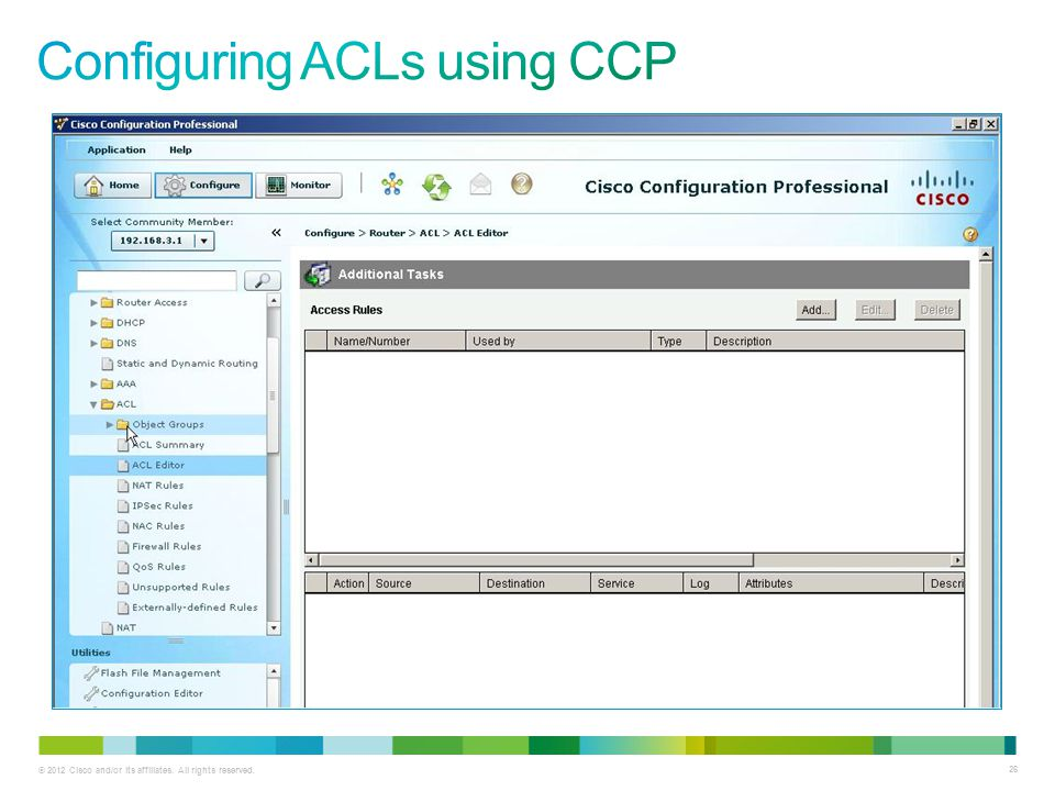 Configuring ACLs using CCP