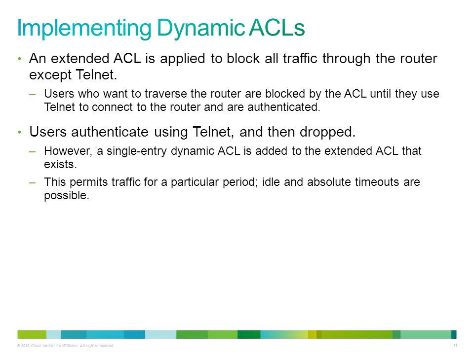 Implementing Dynamic ACLs