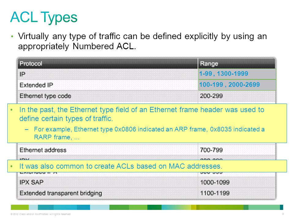 ACL Types Virtually any type of traffic can be defined explicitly by using an appropriately Numbered ACL.