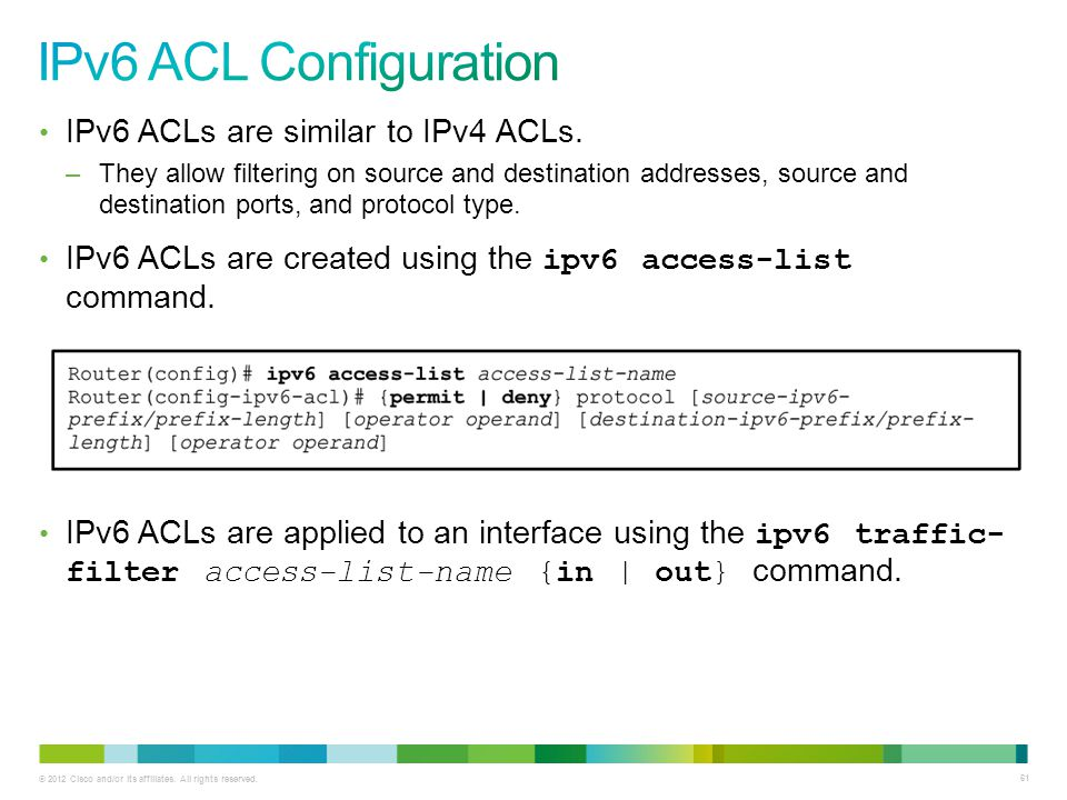 IPv6 ACL Configuration IPv6 ACLs are similar to IPv4 ACLs.