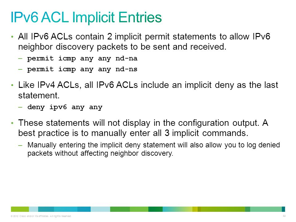 IPv6 ACL Implicit Entries