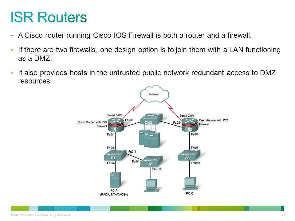 ISR Routers A Cisco router running Cisco IOS Firewall is both a router and a firewall.