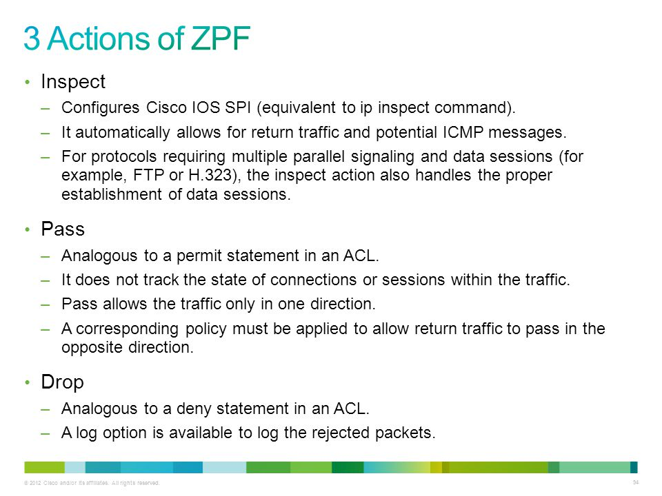3 Actions of ZPF Inspect Pass Drop