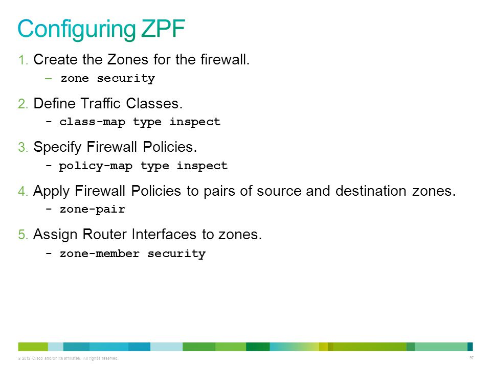 Configuring ZPF Create the Zones for the firewall.