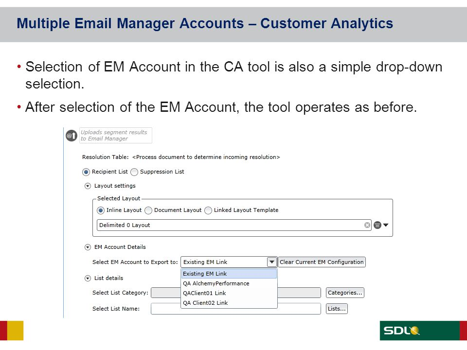 Multiple Email Manager Accounts – Customer Analytics