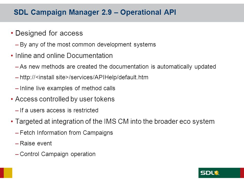 SDL Campaign Manager 2.9 – Operational API