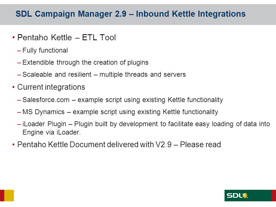 SDL Campaign Manager 2.9 – Inbound Kettle Integrations