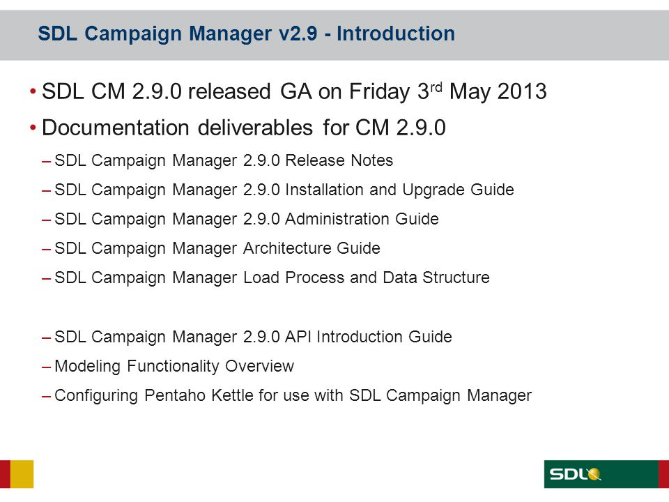 SDL Campaign Manager v2.9 - Introduction