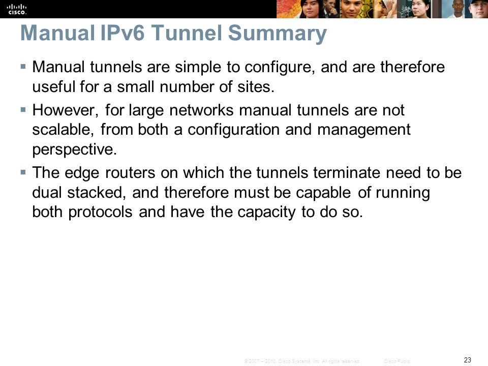 Manual IPv6 Tunnel Summary