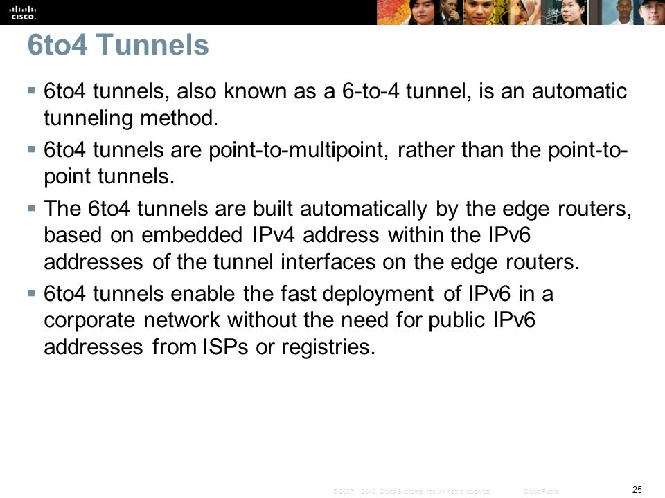 6to4 Tunnels 6to4 tunnels, also known as a 6-to-4 tunnel, is an automatic tunneling method.