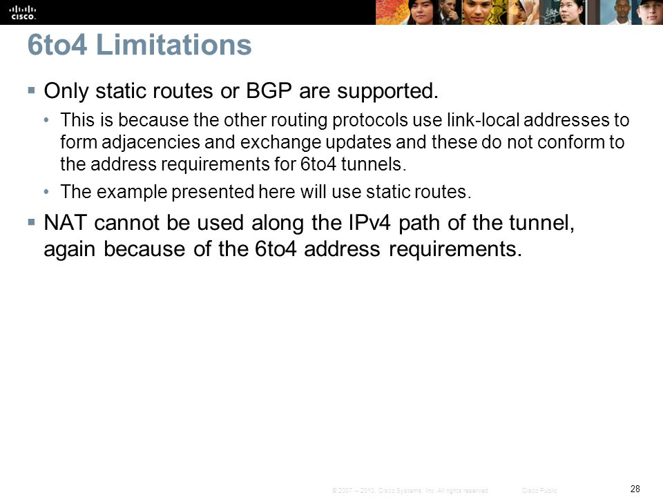 6to4 Limitations Only static routes or BGP are supported.
