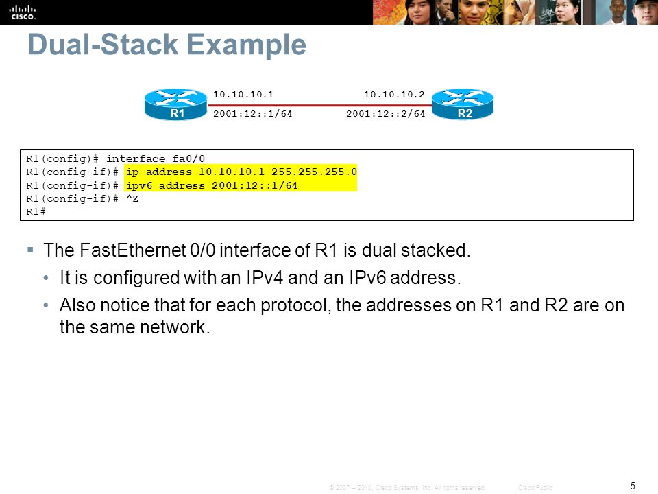 Dual-Stack Example 10.10.10.1. 10.10.10.2. R1. 2001:12::1/64. 2001:12::2/64. R2. R1(config)# interface fa0/0.