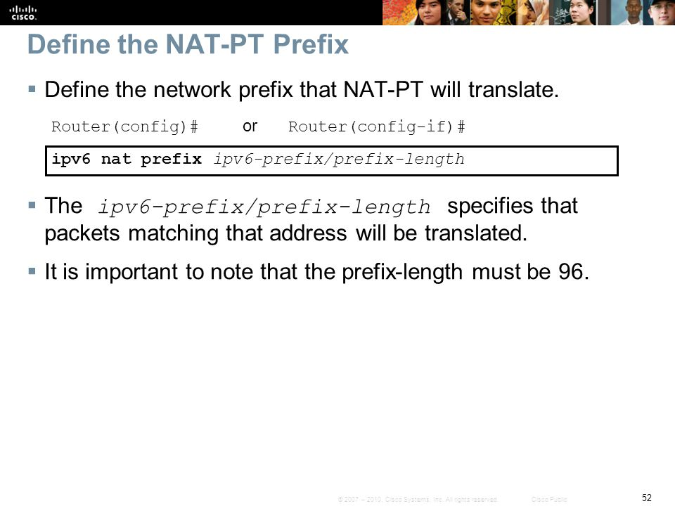 Define the NAT-PT Prefix