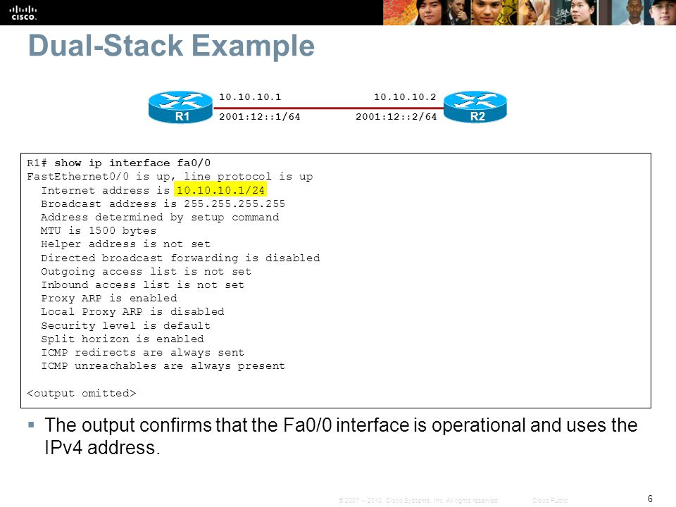 Dual-Stack Example 10.10.10.1. 10.10.10.2. R1. 2001:12::1/64. 2001:12::2/64. R2. R1# show ip interface fa0/0.