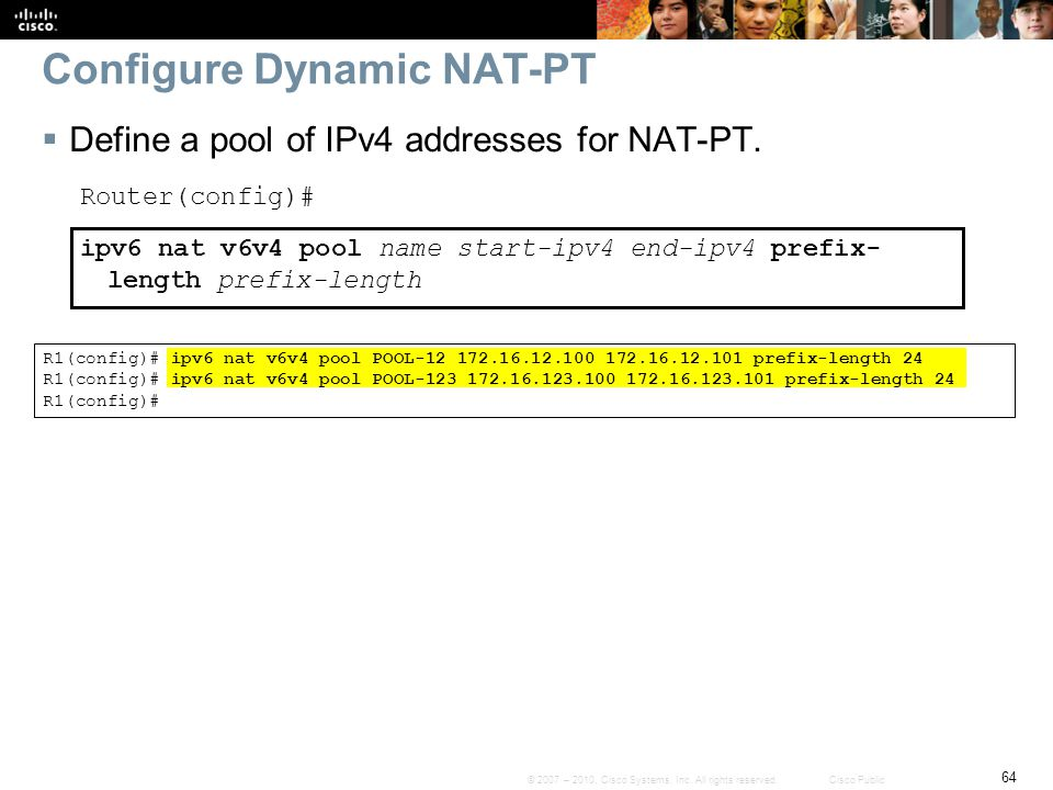 Configure Dynamic NAT-PT