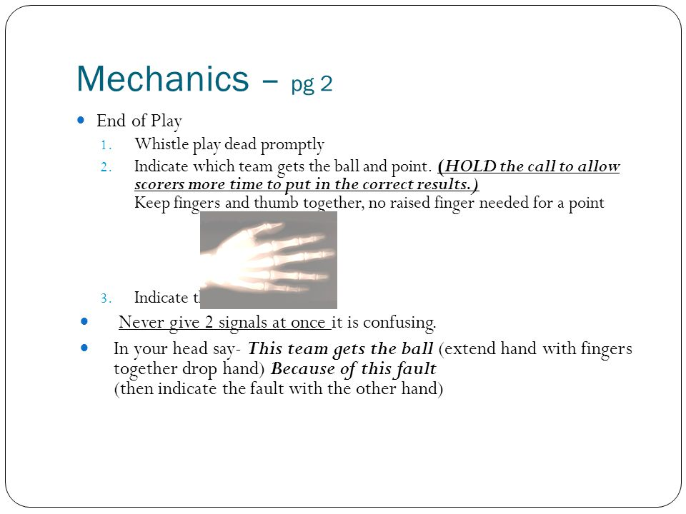 Mechanics – pg 2 End of Play